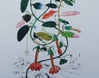 Salvador DALI - crazy tree - signed Printographie #800ex 1979