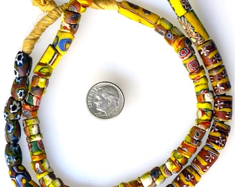 23 Inch Strand of Mixed Venetian Trade Beads, Mostly Millefioris - Vintage African Trade Beads - MF1071