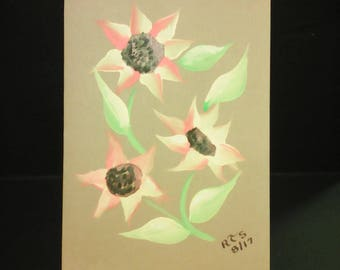 3 SUN FLOWERS On Brown Greeting Card