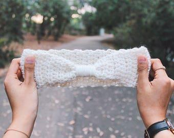 Crochet Headband - Headwrap Cinched Earwarmer / Headwarmer