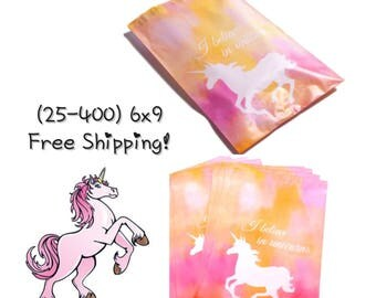 "FREE SHIPPING! (25-400 Pack) 6x9"" Pink Unicorn Designer Poly Mailers"