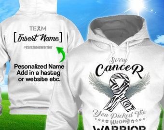 Personalized Carcinoid Endocrine Cancer Awareness Hoodie Zebra Ribbon Warrior Men Women Kid Youth Custom Pullover Gift Winter Apparel Cloth