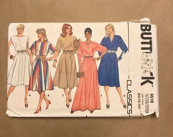 Vintage 1980s Sewing Pattern - Butterick 6510 - Dress