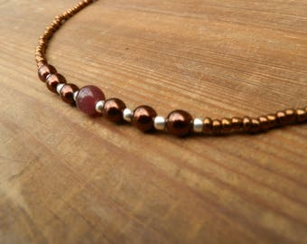 Brown beads necklace with genuine cat's eye bead