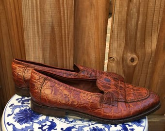 Vintage Nordstrom Loafers // Faux Crocodile Loafers // Leather Loafers // Made in italy
