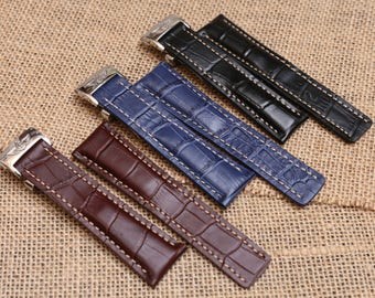 BREITLING Leather Band Strap Navitimer 24x22mm Croco Style HANDMADE Deploymant Clasp, Gifts for men, father's day, birthday gift