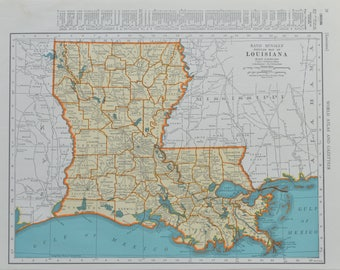 Louisiana Map Etsy - Lousiana map
