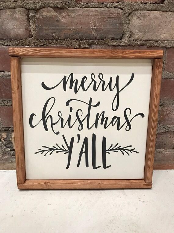 Christmas sign, merry Christmas ya'll, southern christmas, christmas sign, framed Christmas wall hanging, Christmas gift, Christmas decor