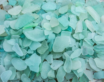 Scottish Beachcombed Sea Glass: Turquoise Sea Worn Pieces for Crafts/Mosaics 100g