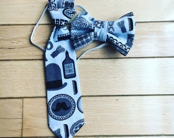 Bow tie / hair bow and matching neck tie