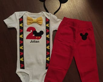 Mickey Mouse Personalized Embroidered 2nd birthday, Boys birthday outfit, Baby boy second birthday, Mickey party