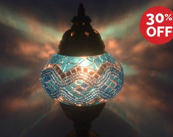 Blue Bohemian Turquoise Floor Lamp Moroccan Lantern Turkish Mosaic Lamps Ambient