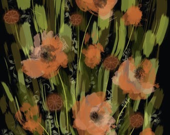 Abstract Orange Poppies.