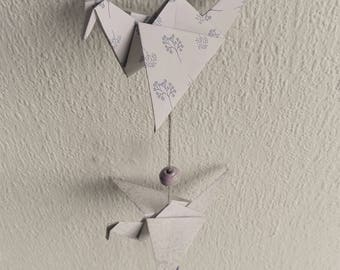 Cranes | Wall decoration/pendulum with origami and beads