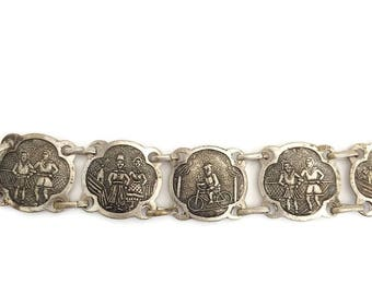 Dutch Souvenir Bracelet, Souvenir of Holland, Silver Tone Souvenir Jewelry, Windmill, Bike Rider, Dutch Country Life, Dutch Clog Dancers