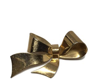 1950's Coro Sterling with Gold Wash Bow Brooch