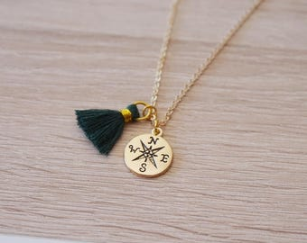 boho gold necklace with compass and tassel - Bohemian MOM daughter sister jewelry pendant