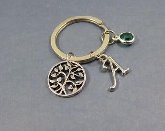 tree of life monogram keychain - personalised tree of life keyring - Keychain tree of life - initial letter birthstone swarovski