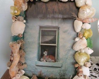 """Seashell and Sea Glass Frame 5"""" x 7"""""""