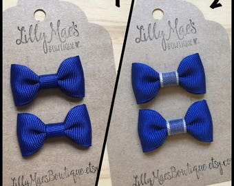 Blue mini bow, Mini Tuxedo Hair Bows, baby & toddler hair clip, mini bow