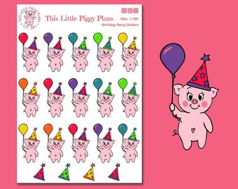 Birthday Party Oinkers - Birthday Party - Birthday Stickers - Planner Stickers - Party Hats - Balloons - Celebrate Stickers - [Misc 1-18R]