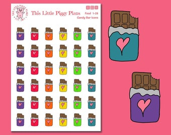 Chocolate Bar Icons Planner Stickers - Chocolate Bars - Candy Planner Stickers - Chocolate Icons - Candy Icons - Food Stickers - [Food 1-28]