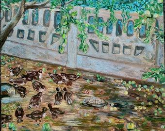 Duck's in my apple garden ( 55 X 55 CM)