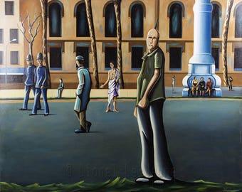 Urban surealist scene - oil painting