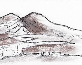 Sketch Vesuvio Italy landscape - charcoal, metal pigment on paper A4