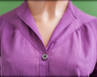 Blouse - shirt purple size 38 - 80's chiffon vintage