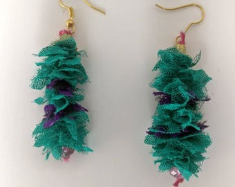 Fabric Dangle earrings, fabric earrings, gift for woman, gift for her, ready to ship Jewelry