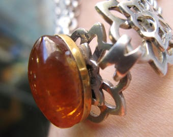 55g FASHION jewel AMBER NECKLACE pure silver 925, pure gold 750