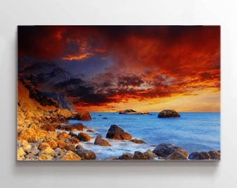 Large Wall Art Canvas Rock Island Coast Below Red Sky at Sunset