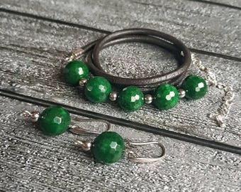 Leather bracelet/ necklace  and earrings with amazing faceted green jade