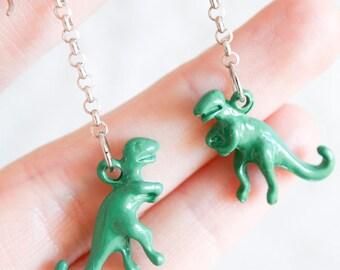 Sterling Silver T-Rex Dinosaur Earrings