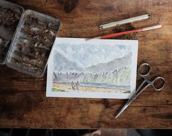Fly Fishing the Wilderness Original Watercolor Painting