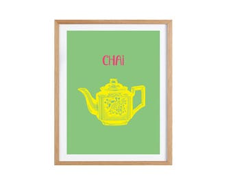 Poster, Print, Wallart, Tea art, Tea print, kitchen art Illustration, Kitchen decoration Giclee print A4