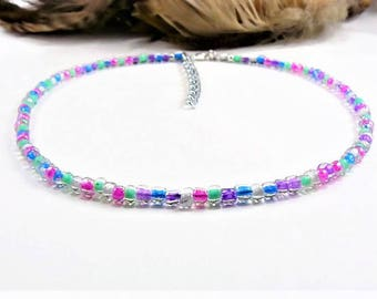 Multicolor Beaded Choker, Seed Bead Choker, Boho Choker, Beaded Choker, Choker Necklace, Seed Bead Necklace, Beach Choker, Dainty, Boho