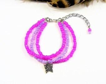 Multi Strand Bracelet, Seed Bead Bracelet, Beaded Bracelet, Beaded Wrap, Charm Bracelet, Adjustable, Friendship, Gifts for Mom Women Girls