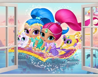 Shimmer Shine 3D Window Decal Wall Sticker Home Decor Art Mural Girls J266