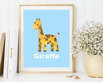 Giraffe Printable Wall Art Poster, Kids room decor, Nursery decor, Giraffe print, Giraffe poster, Giraffe decor, Giraffe poster