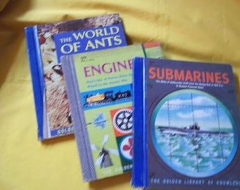 3 Golden Library of Knowledge Books - World of Ants, Engines, Submarines