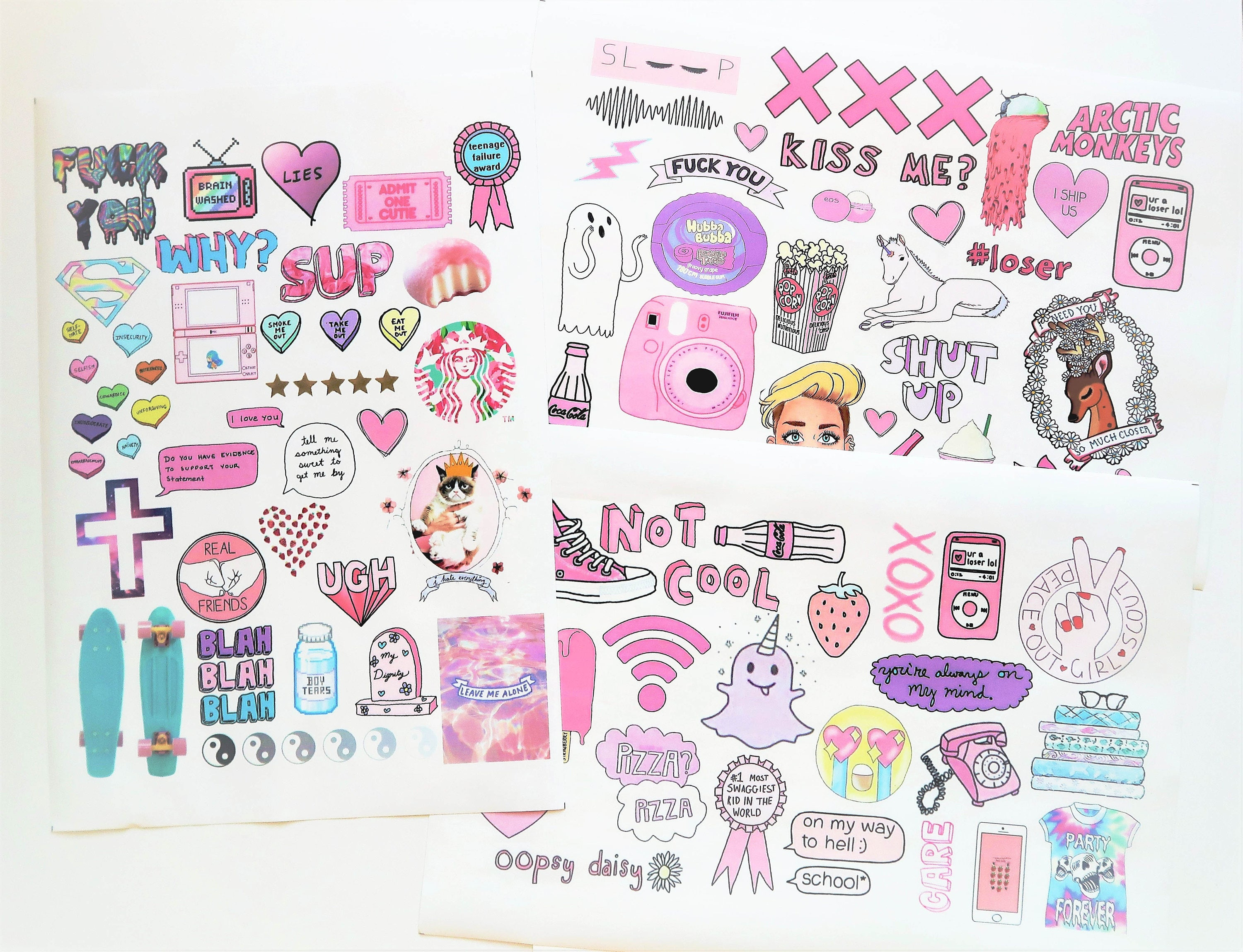 Pink Color Big A4 Tumblr Sticker Sheet Planner Diary