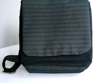 Handbag, Shoulder bag with adjustable strap, black and charcoal grey. Messenger style - made from all UP CYCLED materials