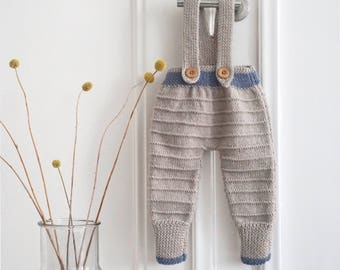 Hand Knit Baby Dungarees - Baby Overalls - Merino Wool Baby Jumpsuit - Handmade Baby Shower Gift - 3-6 Months
