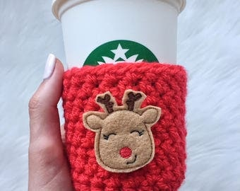 Rudolph Cup Sleeve, Rudolph Coffee Cozy, Rudolph Gift
