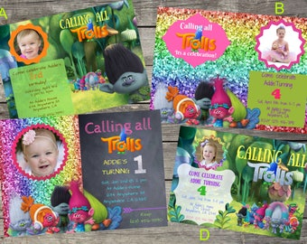 Personalized Dreamworks Trolls Birthday Invitation- Digital File Only- DIY 5x7
