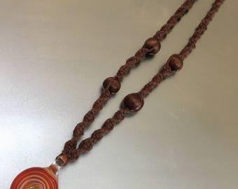 Hemp Necklace w/ Orange Pendant