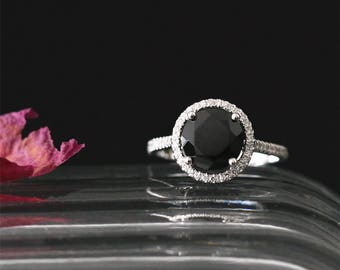VS 8mm Round Cut Black Spinel Engagement Ring Gemstone Ring 14K White Gold Bridal Ring Anniversay Ring Diamonds Halo Ring Stackable Ring