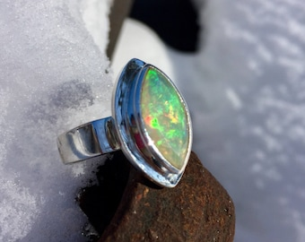Faceted African Fire Opal, genuine and fair trade ring.